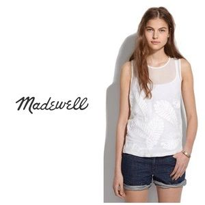 Madewell silk front Embroidery tank